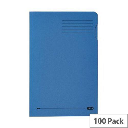 Elba Foolscap Square Cut Folder Recycled Mediumweight 285gsm Manilla Blue Pack 100 Ref 100090217