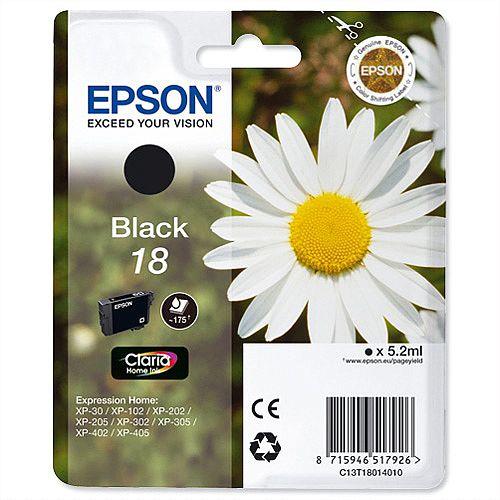 Epson T1801 Black Inkjet Cartridge C13T18014010 C13T18014012