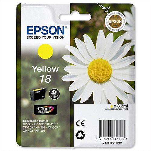 Epson T1804 Inkjet Cartridge Capacity 3.3ml Yellow Ref C13T18044010 C13T18044012