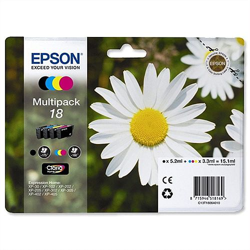 Epson Daisy T1806 Ink Cartidge Multi Pack Black/Cyan/Magenta/Yellow Ref C13T18064010 [Pack 4] C13T18064012