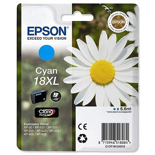 Epson 18XL Cyan Daisy Inkjet Cartridge High Capacity 6.6ml Cyan C13T18124010 C13T18124012