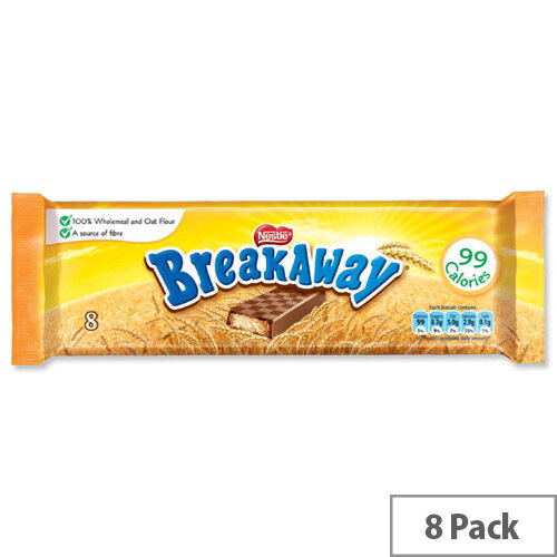 Nestle Breakaway Milk Chocolate Covered Biscuits Individually Wrapped Ref 12173826 [Pack 8]