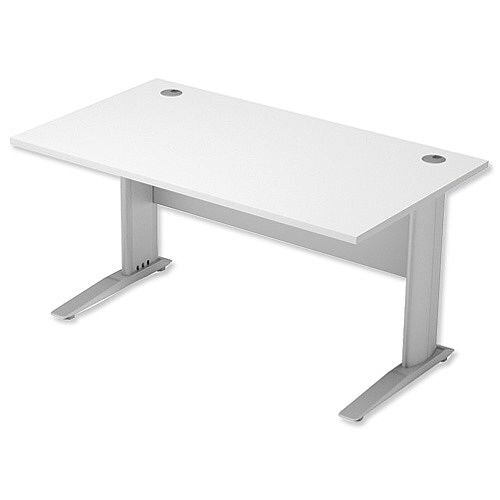 Cantilever Office Desk Rectangular W1400xD800xH725mm White Komo