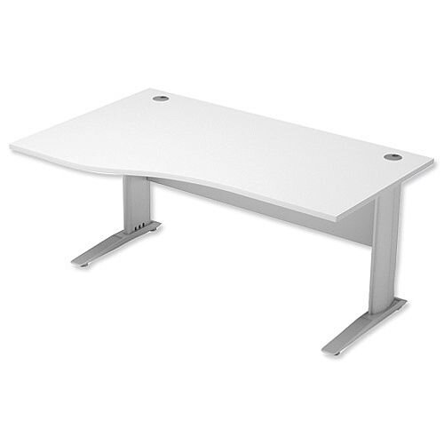 Komo Cantilever Wave Office Desk Left Hand W1600xD1000-800xH720mm White