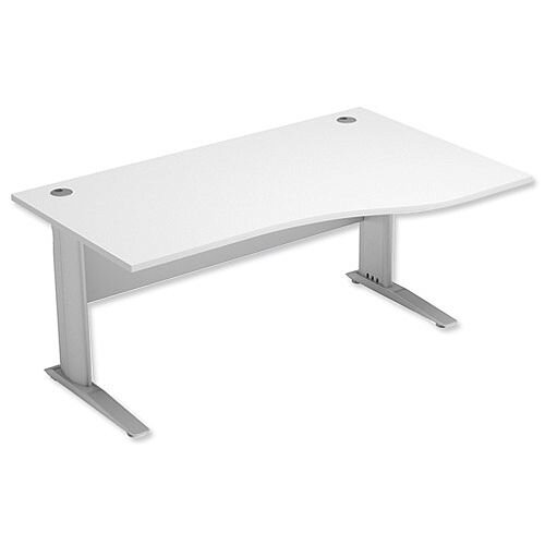 Komo Cantilever Wave Desk Right Hand W1600xD1000-800xH720mm White