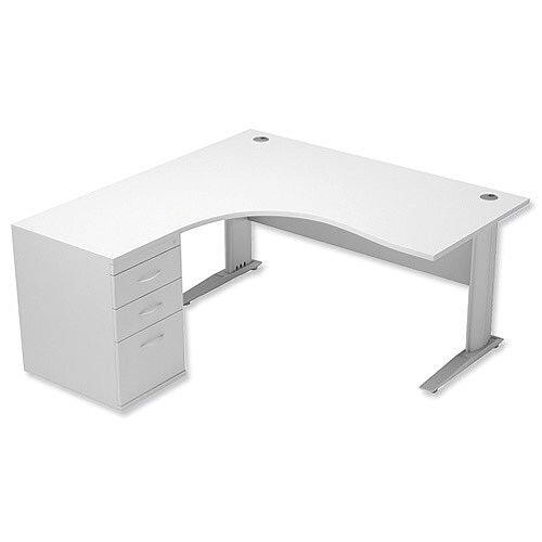 Radial Office Desk Left Hand With 600mm Desk-High Pedestal In White. Komo Range Bundle. Bundle Deal Includes Desk &Desk High Pedestal. Assembly Required.