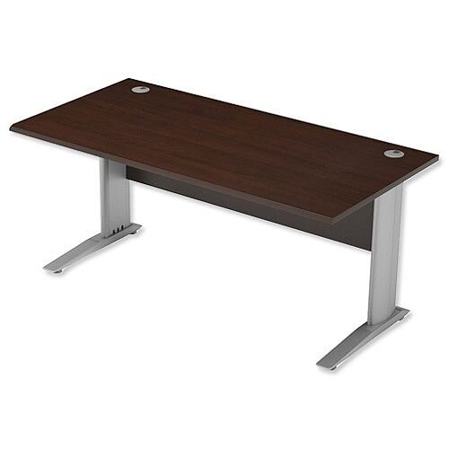 Cantilever Office Desk Rectangular W1600xD800xH725mm Dark Walnut Komo