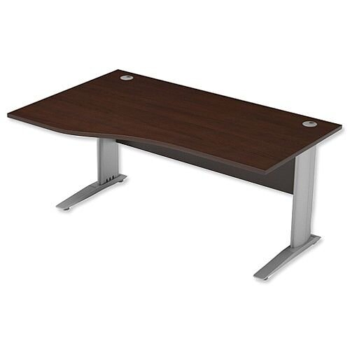 Komo Cantilever Wave Office Desk Left Hand W1600xD1000-800xH725mm Dark Walnut