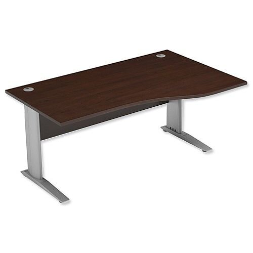 Komo Cantilever Wave Desk Right Hand W1600xD1000-800xH725mm Dark Walnut