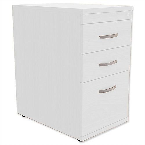 Filing Pedestal Desk-High 3-Drawer 600mm Deep White Kito