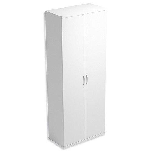 Tall Cupboard with Lockable Doors W800xD420xH2210mm White Kito