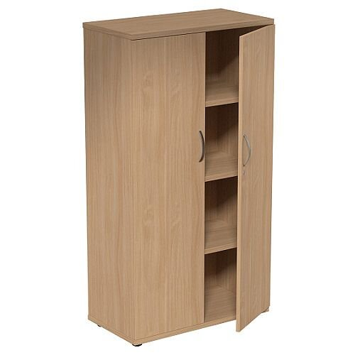 Medium Tall Cupboard with Adjustable Shelves and Floor-leveller Feet W800xD420xH1490mm Beech Kito