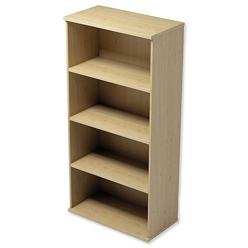 Medium Tall Bookcase with Adjustable Shelves and Floor-leveller Feet W800xD420xH1490mm Maple Kito