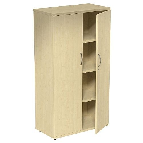 Medium Tall Cupboard with Adjustable Shelves and Floor-leveller Feet W800xD420xH1490mm Maple Kito