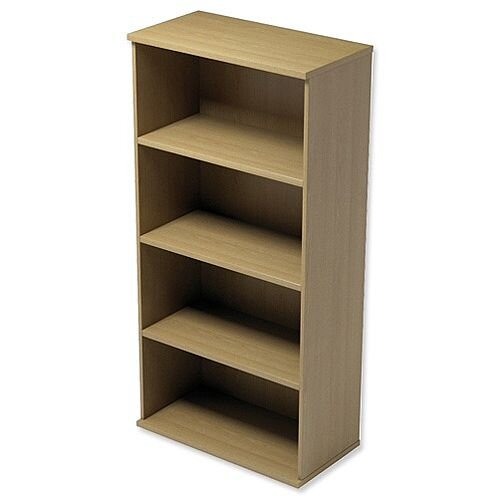 Medium Tall Bookcase with Adjustable Shelves and Floor-leveller Feet W800xD420xH1490mm Urban Oak Kito