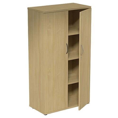 Medium Tall Cupboard with Adjustable Shelves and Floor-leveller Feet W800xD420xH1490mm Urban Oak Kito