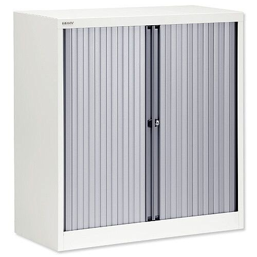Bisley A4 EuroTambour Including 2 Shelves W1000xD430xH1030mm Silver Shutters White Frame