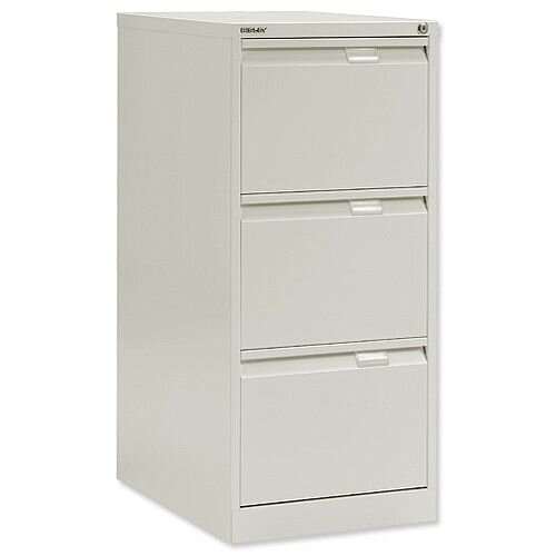 3 Drawer Steel Filing Cabinet Flush Front Chalk White Bisley BS3E