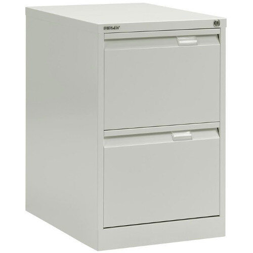 2 Drawer Steel Filing Cabinet Flush Front White Bisley BS2E