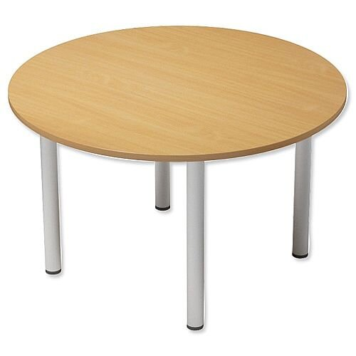 Kito Beech Meeting Room Round Table Silver Double Tubular Leg Dia1100xH725mm