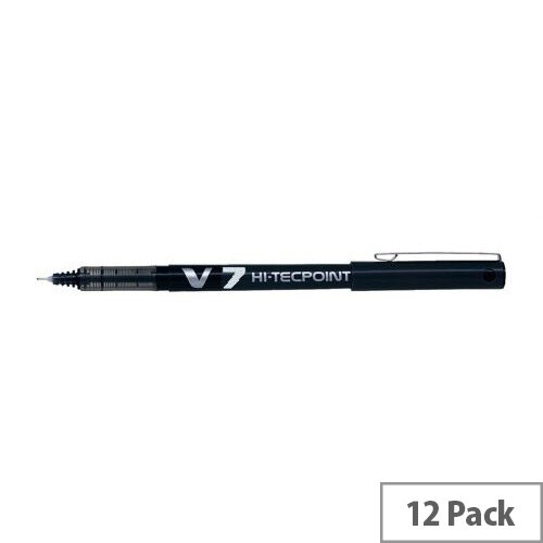 Pilot V7 Rollerball Pen Needle Tip 0.7mm Line 0.5mm Black Pack 12 - Fine 0.7mm tip for a 0.4mm line width - Jumbo ink tank with viewing window for ink level - High performance, smooth writing rollerball pen with needlepoint tip