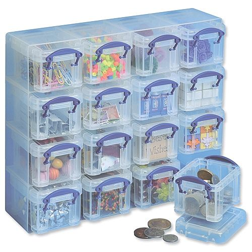 Really Useful Organizer Set Polypropylene Boxes and Tray W224 x D280 x H65mm Clear Ref 0.14 x 16CORG, Wall Mounted or Free Standing Options