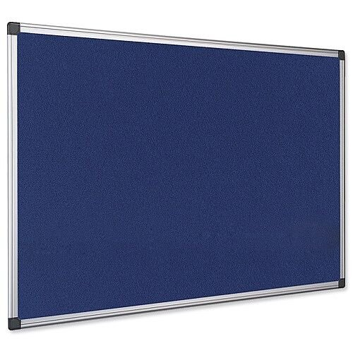 Bi-Office Notice Board Fire Retardant Fabric Alumimium Frame 900 x 600mm Blue Ref SA0301170