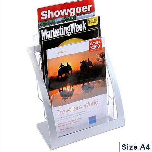 Deflecto Contemporary Counter Top Magazine Holder Silver