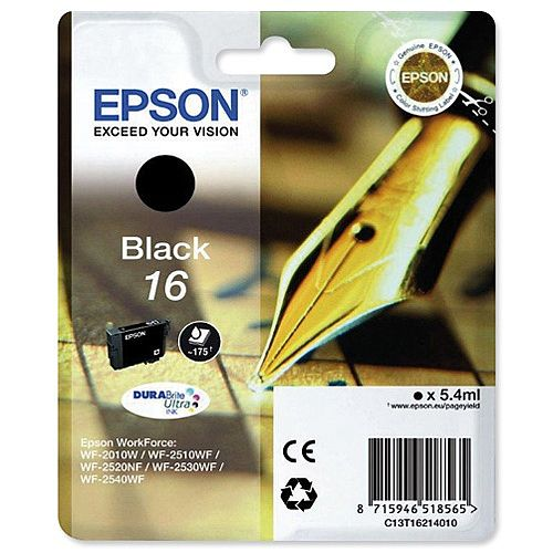 Epson 16 (T1621) Black Inkjet Cartridge Pen &Crossword Series C13T16214010 C13T16214012