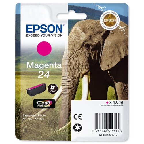 Epson 24 (T2423) Magenta Inkjet Cartridge Capacity 4.6ml Page Life 360pp Ref T24234010 C13T24234012