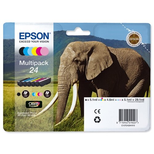 Epson 24 Inkjet Cartridge Multipack Capacity 29.1ml B/C/M/Y/LC/LM Ref T24284010 [Pack 6]