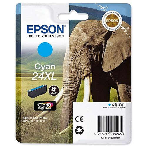 Epson Elephant 24XL Cyan Ink Cartridge Page Life 740pp C13T24324012