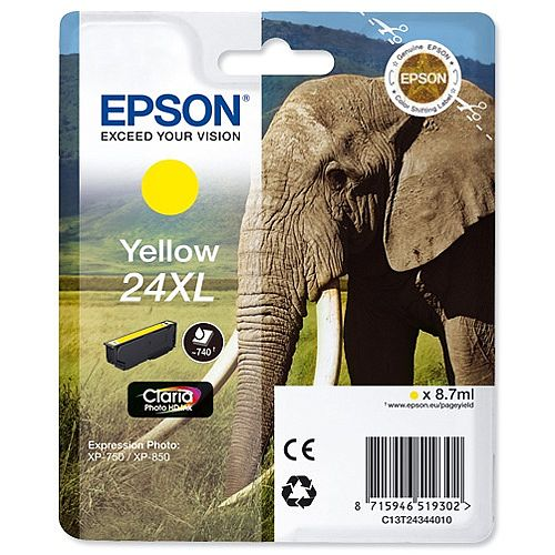 Epson Elephant 24XL Yellow Ink Cartridge Page Life 740pp C13T24344012