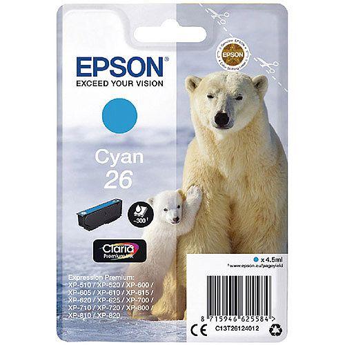 Epson 26 (T2612) Cyan Inkjet Cartridge Capacity 4.5ml Ref C13T26124010 102135 C13T26124012 EP51894