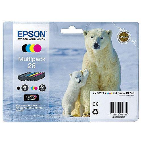 Epson T2616 Inkjet Cartridge Capacity 19.7ml Black/Cyan/Magenta/Yellow Ref C13T26164010 [Pack 4]