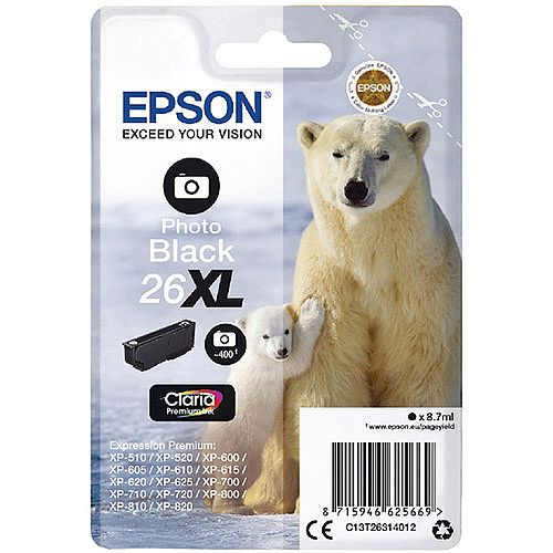 Epson 26XL T2631 Photo Black Ink Cartridge Polar Bear Series C13T26314010 C13T26314012