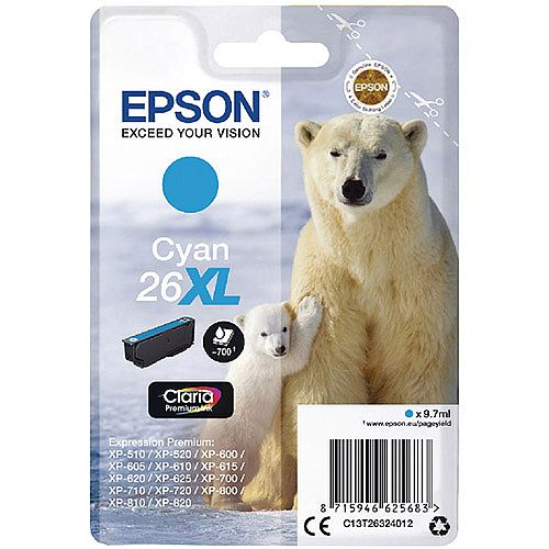 Epson Polar Bear 26XL Cyan Ink Cartridge T2632 C13T26324012