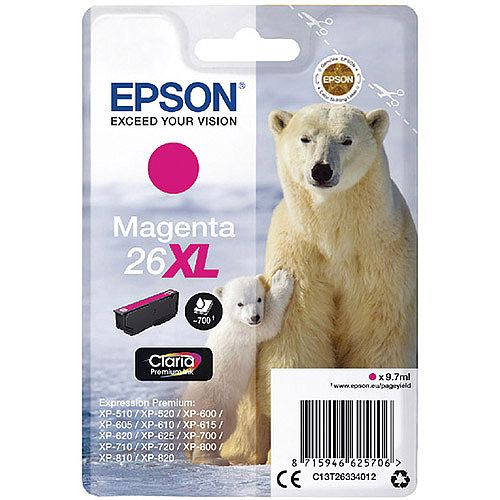 Epson Polar Bear 26XL Magenta Ink Cartridge T2633 C13T26334012
