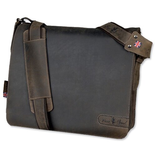 Pride &Soul Ben Shoulder Shoulder Strap Leather Brown Messenger Laptop Bag