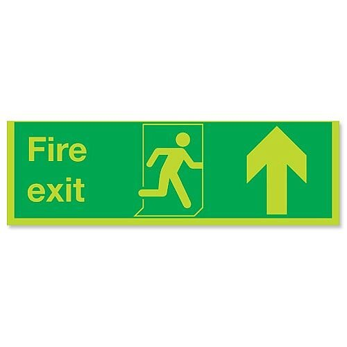 Stewart Superior Fire Exit Sign Man and Arrow Straight Up 450x150mm Self-adhesive Vinyl