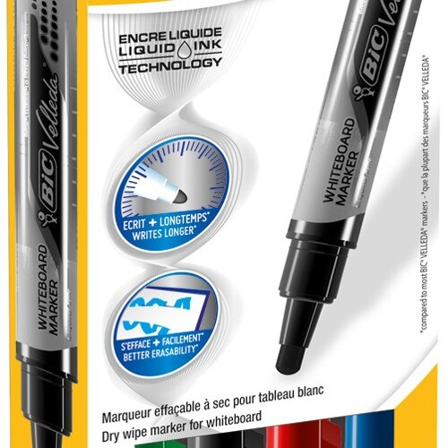 Bic Velleda Whiteboard Markers Large Bullet Tip Liquid Ink Assorted 902099 [Pack 4]