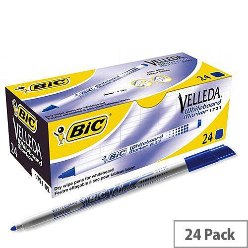 Bic Velleda Drywipe Marker 1721 Bullet Tip 1.5mm Line Blue Ref 841841 [Pack 24]