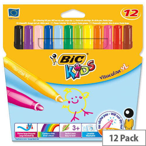 Bic Kids Assorted Visa XL Felt Pens Pack of 12