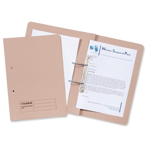 Guildhall Transfer Spring File 420gsm Pocket Foolscap Buff Ref 211/6001Z [Pack 25]