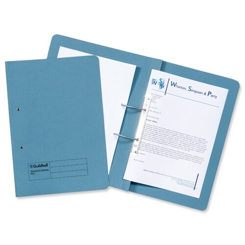 Guildhall Transfer Spring File 420gsm Pocket Foolscap Blue Ref 211/6000Z [Pack 25]