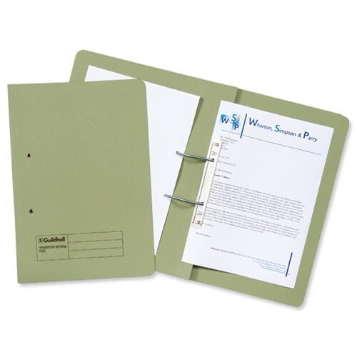Guildhall Transfer Spring File 420gsm Pocket Foolscap Green 211/6002Z [Pack 25]
