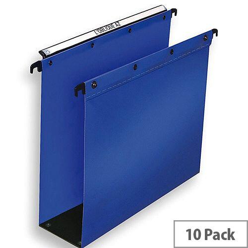 Elba Suspension File Polypropylene 80mm Foolscap Blue Ref 100330417 [Pack 10]