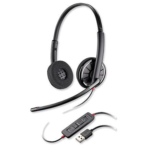 Plantronics Blackwire Binaural C320-M Headset - Lightweight - USB Compatible - Black - Ref 85619-01