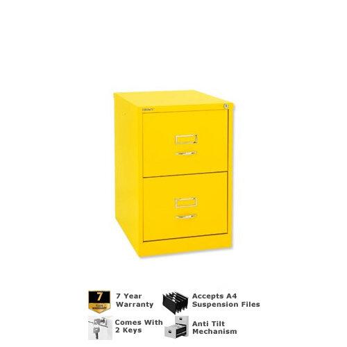 Bisley GLO Filing Cabinet 2-Drawer Yellow Lemon Ref BS2C