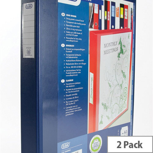 Elba Vision Ring Binder PVC Front Pocket 2 O-Ring A3 Portrait Blue Ref 400009731 [Pack 2]